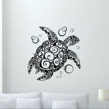 Bathroom Vinyl Sticker Turtle With Bubbles Wall Decal Nautical Style Wallpaper Sea Animal Art Mural Home Decor AY0230