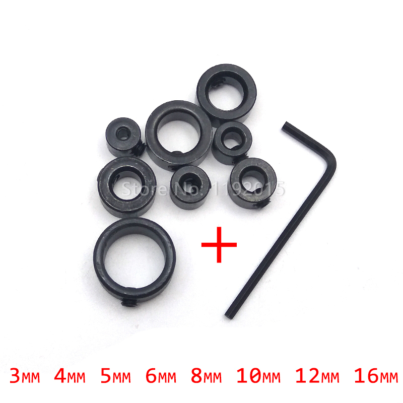 8pcs Woodworking Adjustable Drill Bit Durable Shaft Depth Stop Collar Limit Ring Collar Hole Positione Spacing Ring Small Wrench image