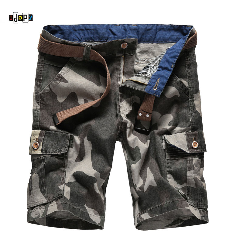Idopy Mens Camouflage Cargo Shorts Plus Size Loose Fit Baggy Multi Pockets Summer Shorts For Male 30-40