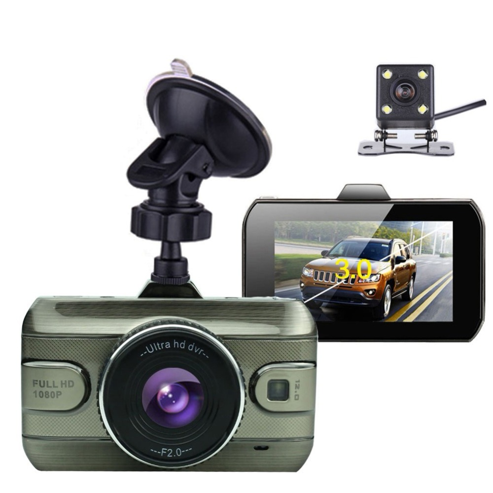 3 pouces double 7801 caméra HD avec caméra de recul arrière caméra de voiture caméra de sauvegarde vidéo lentille enregistreur complet voiture Dvr vue 1080 P 9449 Dvr