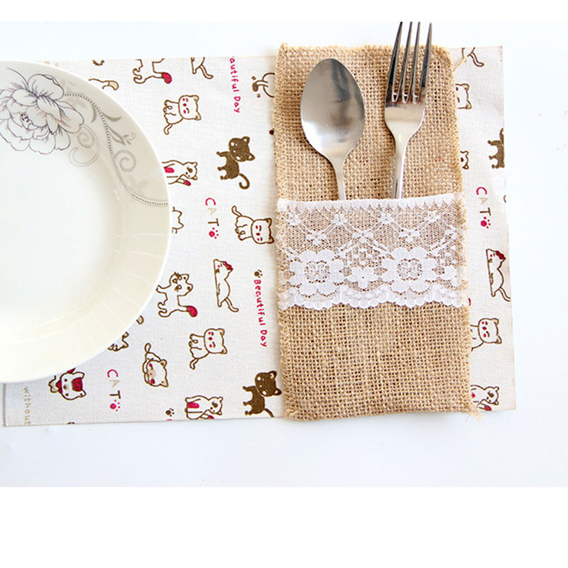 "2019 New Diy Lace Rustic Wedding Decoration Pouch Fork Knife Holder Pocket Burlap Jute Tableware Party Table Decor 4""X8"""