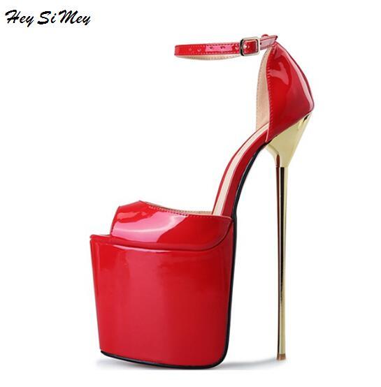 Лето 2018 женская обувь на платформе 9.5 см Шлёпанцы для женщин из металла шпильки и высокой Каблучки 22 см Направляющие перетащите Queen CD Большой...