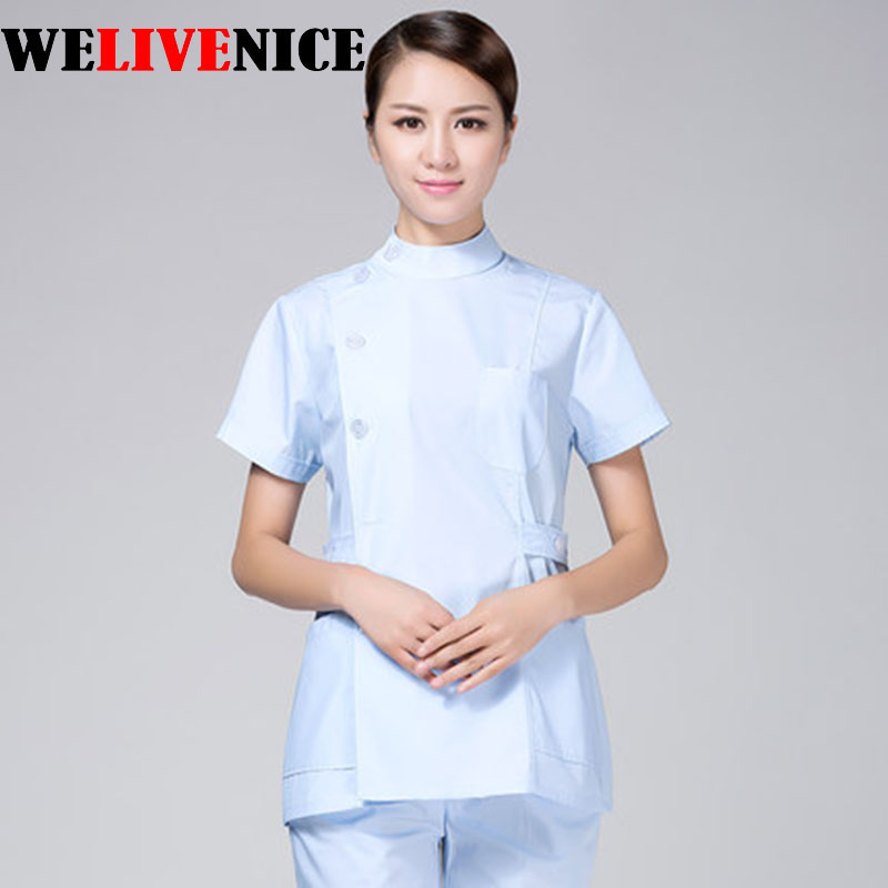 Lab Coat Surgical 2017 New Arrival 100% Cotton Sweet Color Young Women Hospital Medical Scrub Clothes Uniform Set Slim Fit
