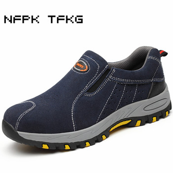men fashion large size breathable steel toe caps work safety tooling shoes genuine leather anti-puncture low boots zapato hombre