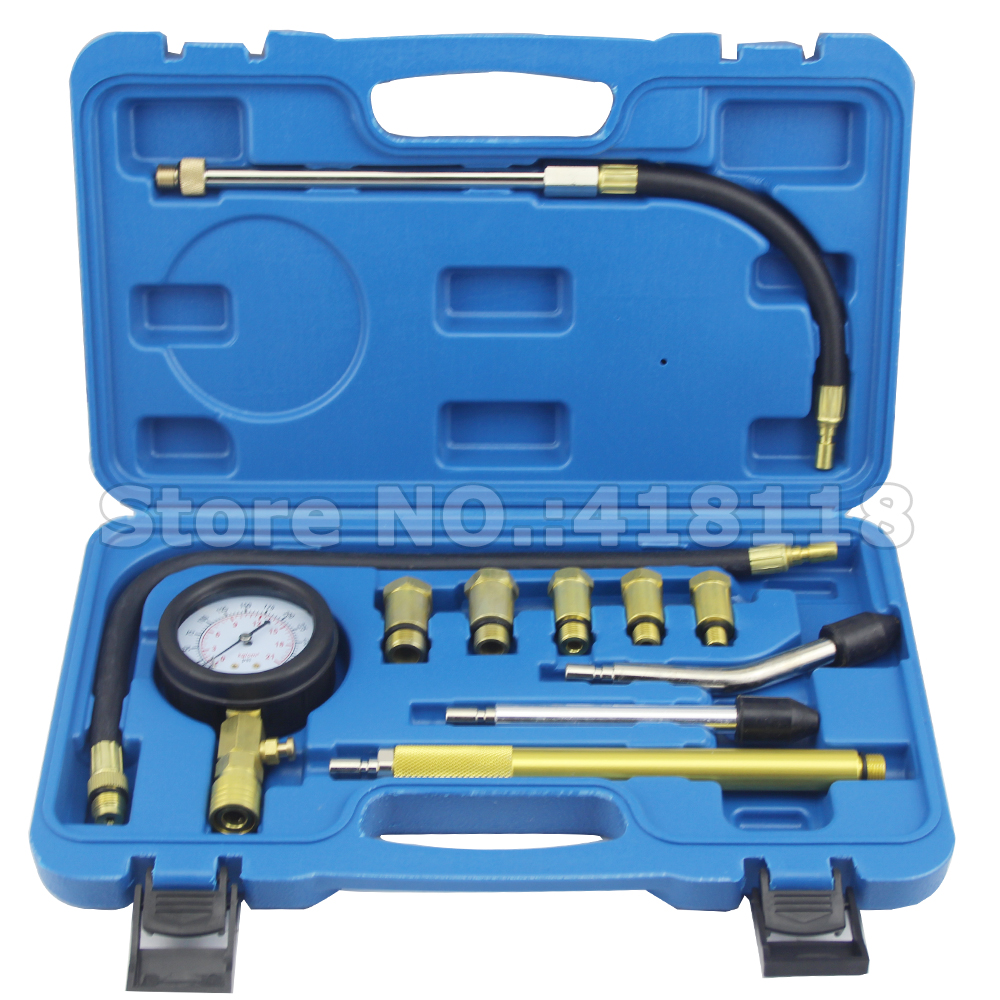 Professional AUTO TOOLS Petrol Gasoline Engine Cylinder Compression Tester Kit Cylinder Tester With M10 M12 M14 M16 M18 dla116 inline cnc processed inline gasoline engine petrol engine 116cc for gas airplanes with double cylinders