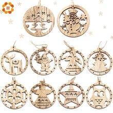 10PCS Mix Round Balls Vintage Christmas Wooden Pendant Ornaments DIY Wood Crafts Xmas Tree Ornament Party Decorations