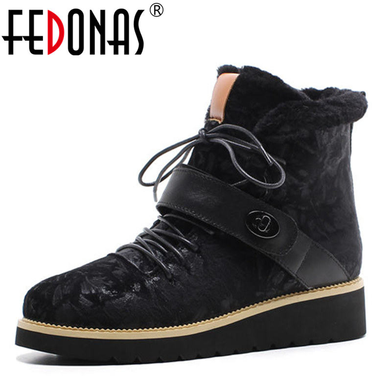 FEDONAS Brand Women Cow Suede Genuine Leather Velvet Ankle Boots Warm Wool + Plush Snow Boots Women Winter Heels Casual Shoes 2017 cow suede genuine leather female boots all season winter short plush to keep warm ankle boot solid snow boot bota feminina
