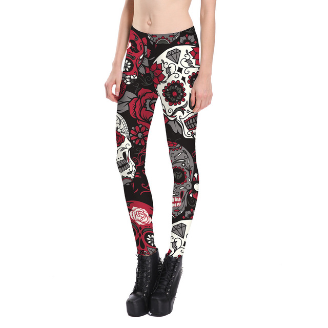 183d495bb9 New Big Skull Painted Women Leggings Cool Smooth Material Ladies Jeggings  Good Elastic Women Pants 3 Colors Drop Shipping