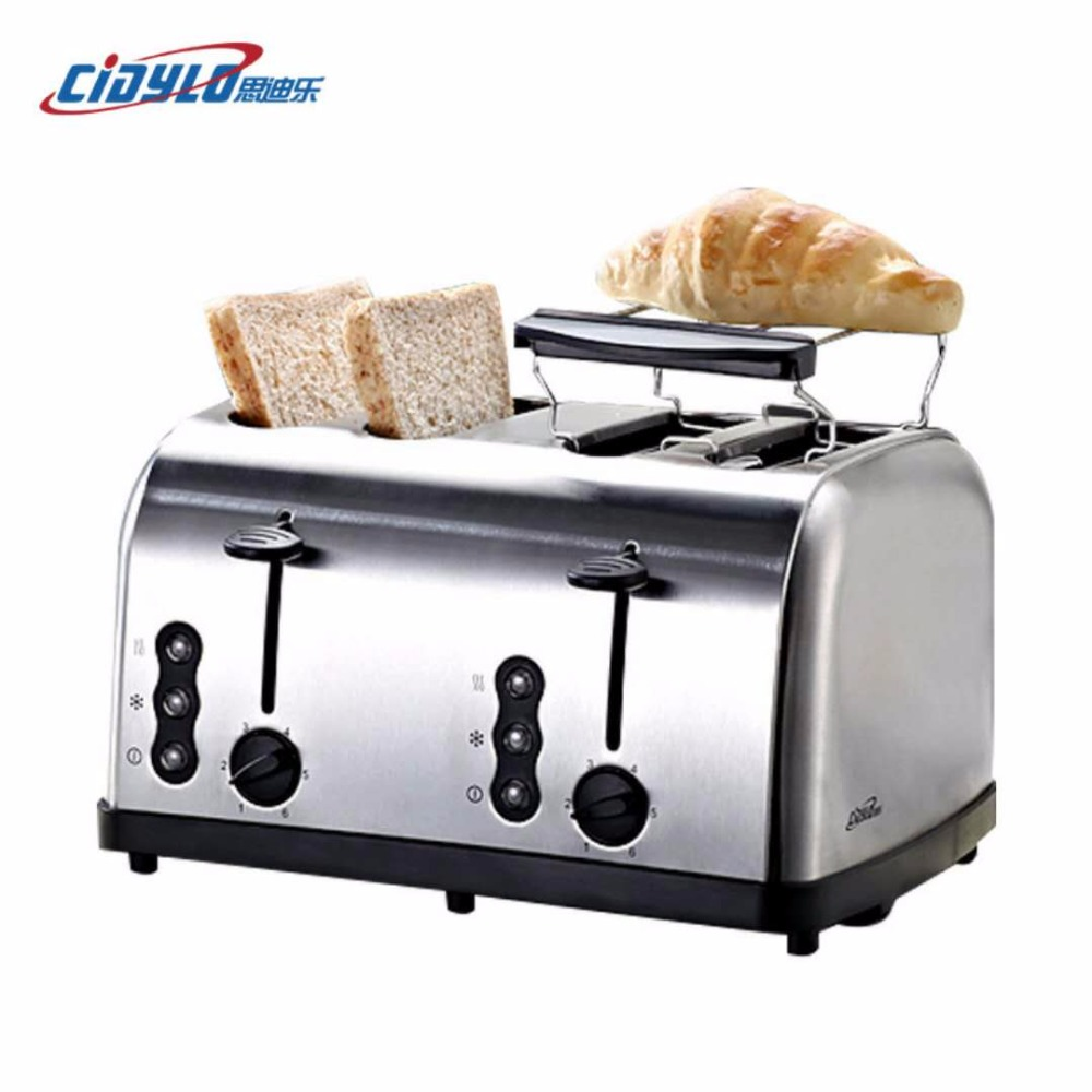 все цены на Sliver color Household Automatic Bread Toaster Baking Breakfast Machine Stainless steel 4 Slices Slots Bread Maker 220V 1500W онлайн