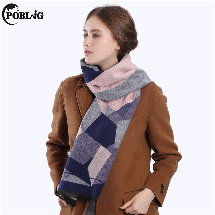 POBING Luxury Brand Winter Scarf Women Geometric Double Cashmere Scarf Blanket Unisex Thicken Wool Wrap Shawl Pashmina Big Capes