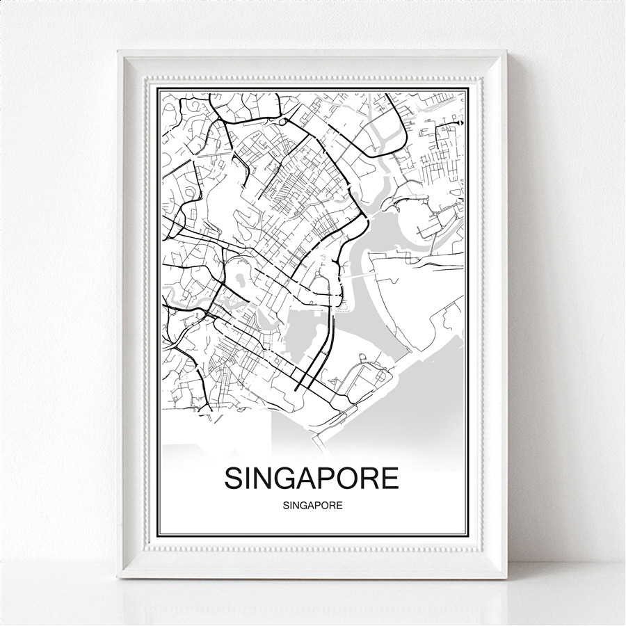 SINGAPORE Famous World City Map Print Poster Abstract Coated Paper Bar Cafe Pub Living Room Home