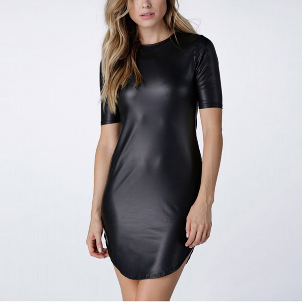 2018 Wanita Baru Sexy Black Faux PU Kulit Wet Lihat Club Party Bodycon Mini Dress