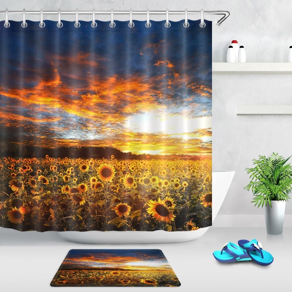 Sunset Cartoon Flamingo Shower Curtain Liner Bathroom Mat Waterproof Fabric Hook
