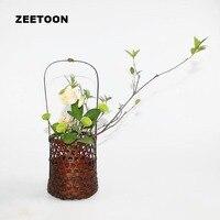 Japanese Ikebana Tabletop Flowerpot Flower Pot Vase Handmade Bamboo Weaving Flower Basket Flower Arrange Vintage Floral Decor