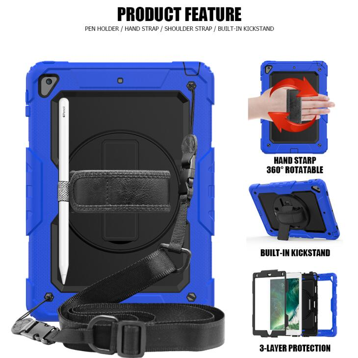Industrious 360 Degree Rotating Case For Ipad 9.7 Inch 2017 2018 A1822 A1893 Tablet Shock Proof Cover Hand Strap & Neck Case With Film Tablets & E-books Case