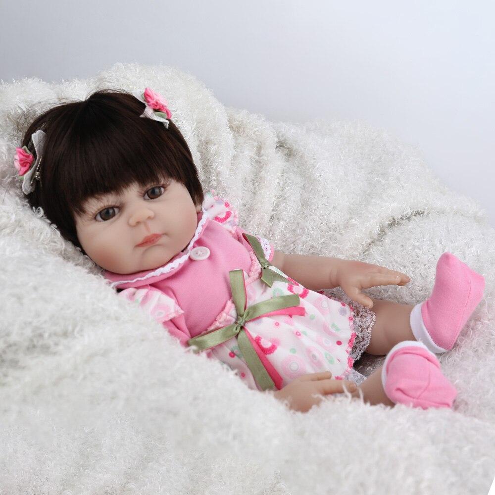 NPKDOLL 17 pouces Reborn bébé poupée pleine vinyle rose princesse fille Liflike nouveau-né bain bébés Collection cadeau d'anniversaire mignon Boneca - 4
