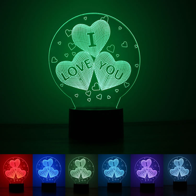 Acrylic 7 Color Changing USB charge 3D HEART I LOVE YOU LED night light with 3D luminous Decor table lamp nightlight i love you heart shape led 3d night