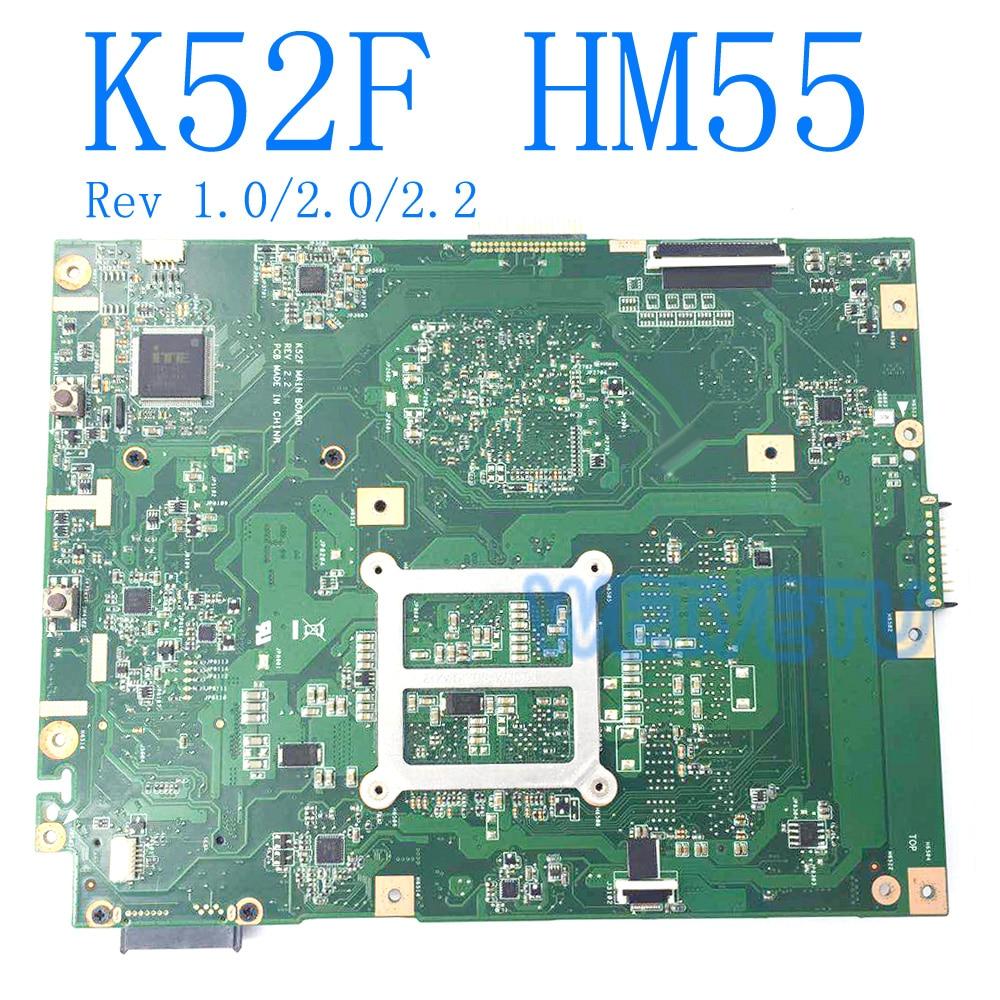 K52F Motherboard Rev 1.0/Rev2.0/Rev2.2 HM55 DDR3 For ASUS K52 X52F A52F P52F Laptop Motherboard K52F Mainboard test 100%