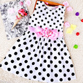 2016 New Popular Baby Kids Girls Summer Clothes Dresses Party Sleeveless Polka Dot Flower Gown Formal Dress 2 3 4 5 6 7 Years