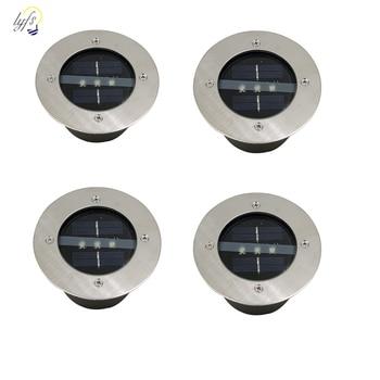 4 teile/los Außen Beleuchtung Solar Powered Panel LED Boden Lampen Deck Licht 3 LED U-licht Garten Pathway Spot Lichter