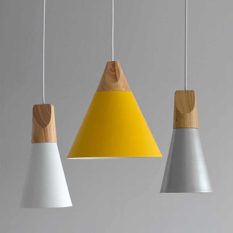 Lereng Kayu Pendant Light Kayu Antik Kap Lampu Gaya Eropa Kemiringan Lampu dengan Miniforms Desain Skrivo Aluminium Ringan