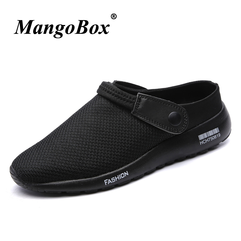 Man Sandals Black Gray Men Casual Shoes Slip-on Slippers Flat Light Summer Shoes for Male Breathable Anti-slip Beach Sandals