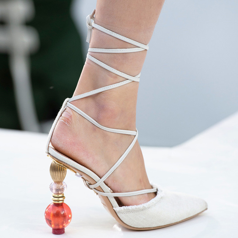 Knsvvli new high heel sandals women pumps fashion cross tied runway shoes pointy toe denim crystal strange style heel shoes sexy