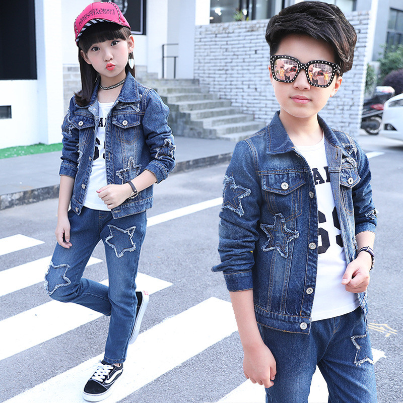 2017 Fashion Girls Denim Jacket Jeans Spring Autumn Girls Coat Star Girls Jackets 3-14T Boys Girls Jacket Set 3 Pcs цены онлайн