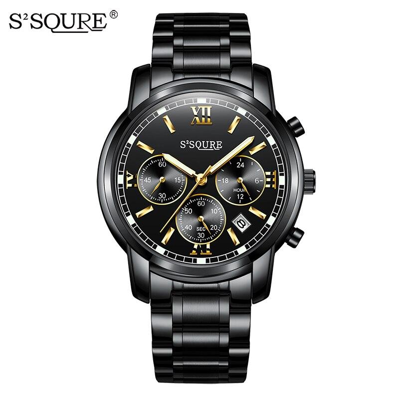 купить S2SQURE Man Quartz Military Watch Luxury Mens Watches Auto Date Chronograph Stainless Steel Wristwatches Clock Reloj Hombre S001 по цене 2184.45 рублей