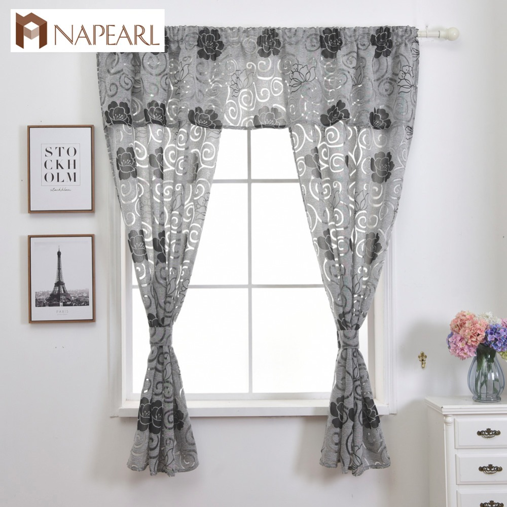 Short Kitchen Curtain Valance Window Treatment Set With Curtain Tiebacks Jacquard Semi-sheer Fabric Ready Made Door Curtain