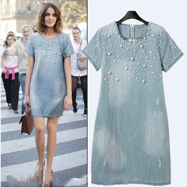 7793f9adace IMucci Nouveau Arrivent Mode Femmes Effiloché Denim Femme Vêtements Avec  Perle Rivet Jeans Robe Plus La