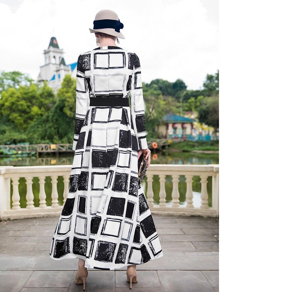 Платье макси с длинным рукавом 2018 осень зима размера плюс женская одежда винтажные черные белые клетчатые вечерние платья с принтом длинно... - 3