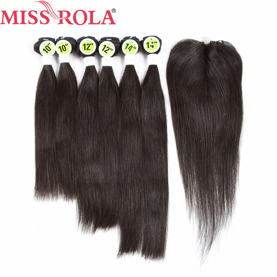 Miss Rola Hair Pre-Colored 1B# Natural Black Brazilian Straight In Extension 6 Bundles With Closure Human Hair Non Remy
