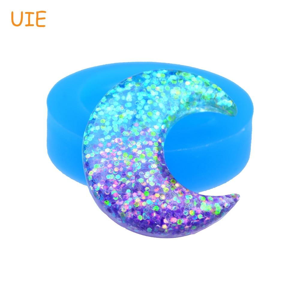 Luna Mold Fondant Cake Decorating Jewelry Pendant Handmade Diy Resin Clay Mold Pyl535u 39.9mm Crescent Moon Silicone Mold