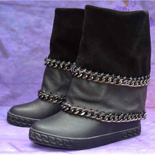 a29514e1e7a Bottes femme winter ankle boots for women black leather metal Chain botas  height increasing platform cowboy boots ladies shoes