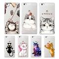 Super cute cartoon cat soft TPU cover for huawei P8 P9 Lite NOVA MATE 8 9 honor 8 case for huawei p8 lite 2017 phone capa