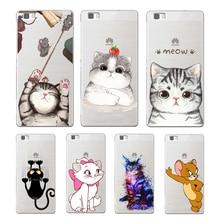 ФОТО super cute cartoon cat soft tpu cover for huawei p8 p9 lite nova mate 8 9 honor 8 case for huawei p8 lite 2017 phone capa