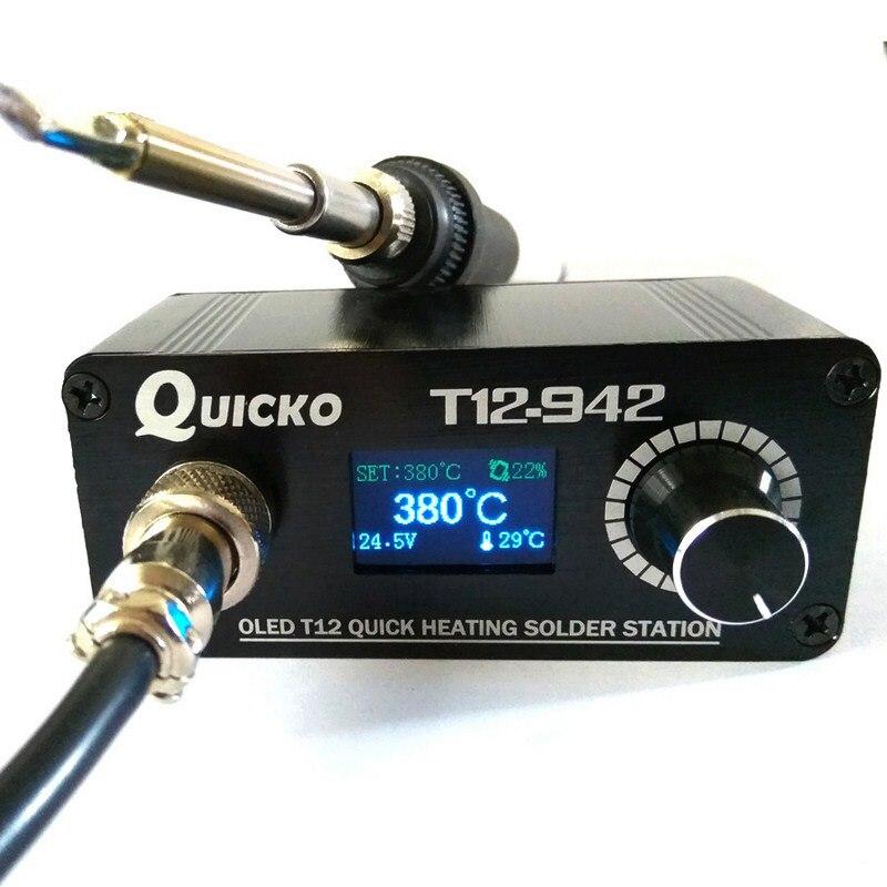 מיני הלחמה תחנת T12 דיגיטלי חשמלי הלחמה ברזל ריתוך OLED הלחמה תחנת AC/DC מתאם נייד ריתוך כלים