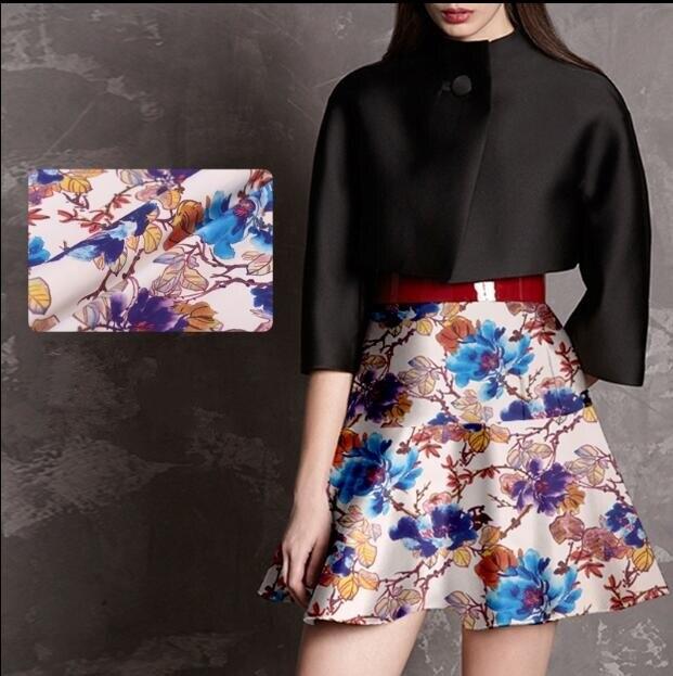 Wholesal Blue Color Digital Heavy Scarf Wool Silk Fabric Dressesprint Satin Fabrictextilescheap Fabrics Tweed Stripe C080 In From Home Garden On