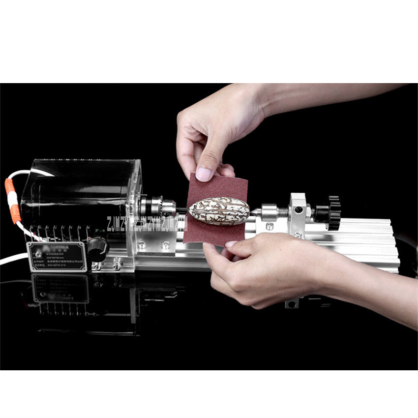 Multifunctional Micro Lathe Woodworking Machine Polishing Small Beads Household DIY Wood Lathe 220v/110V 50/60HZ 350W 8000r/Min