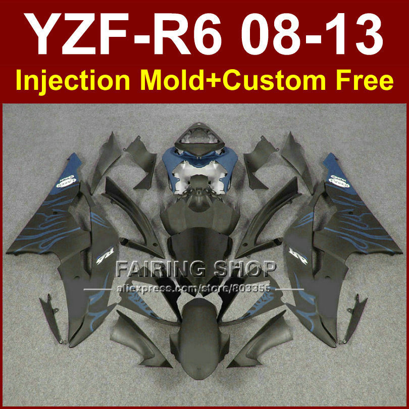 Flat black custom fairings for YAMAHA 2008 2009 2011 2013 YZF-R6 08-13 Injection mold bodywork YZFR6 aftermarket YZF1000 ABS R6 aftermarket free shipping motorcycle parts silver chain guard for yamaha 2006 2007 2008 2009 yzf r6 yzfr6 yzf r6