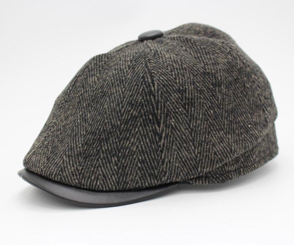 e04f7f0a026 PU Leather Brim Flat Caps Men Winter Hat Gorras Planas Boinas Men ...