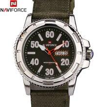 Naviforce marca moda analógico fecha hombres cuarzo Casual Watch relojes hombres reloj Silver Case relogio masculino correa de Nylon