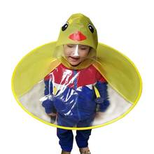 Children's Raincoat Transparent UFO Raincoats Hands Free Rain Poncho Baby Funny Duck Rain Coat Rain Cover Raincoat for kids(China)