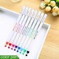8 unids/lote pluma del gel del color del caramelo lindo material escolar papelería papelaria canetas bolígrafos escuela material de oficina