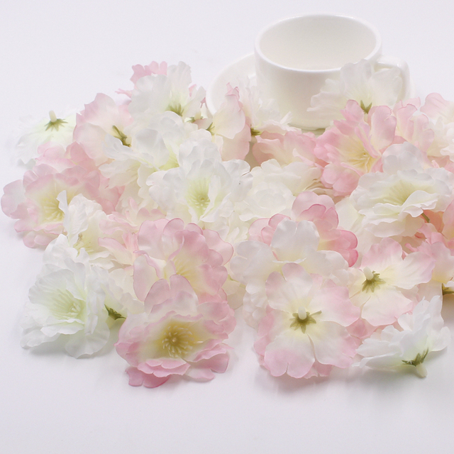 100 pcs/lot 5.6cm Pink Artificial Silk Cherry Blossom Wedding Flower ...