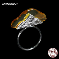 LARGERLOF Fashion Jewelry Women Amber Rings Real 925 Sterling Silver Rings Handmade Adjustable Rings For Women