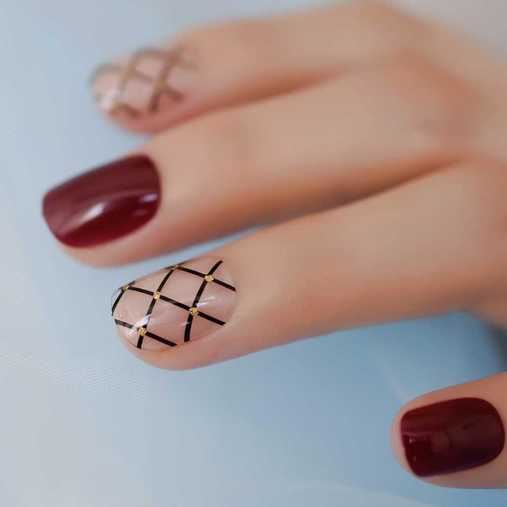 Rond court conçu faux ongles vin rouge clair Sexy noir motif de filet de pêche appuyez sur les conseils de manucure pré-conçu pour un usage quotidien