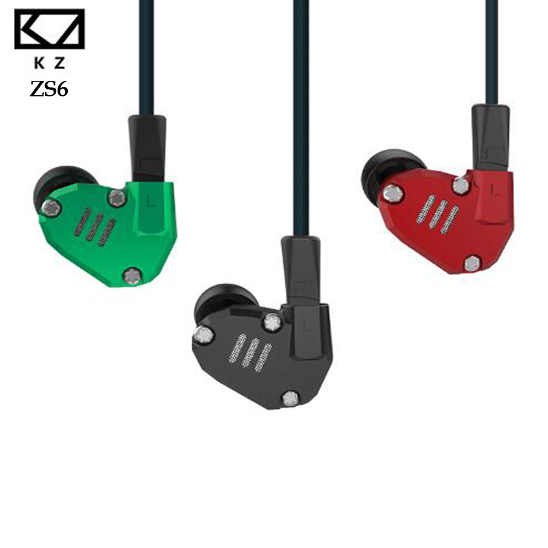 KZ ZS6 2DD 2BA Hybrid Earphone In Ear HIFI DJ Running Noise Isolating Stereo Sport Headset Suitable Bluetooth ZS5 Pro Hot Sale