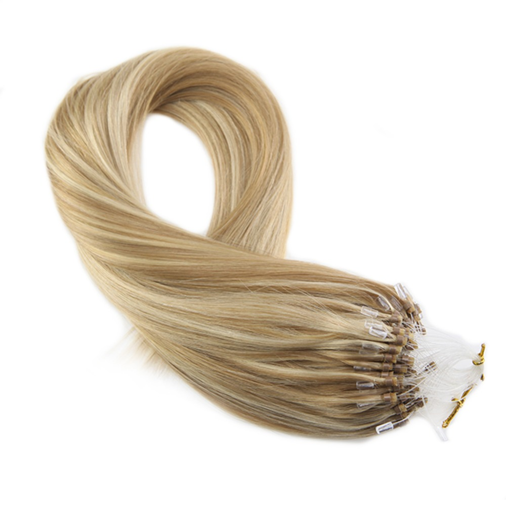 Moresoo Micro Loop Hair Extensions Remy Human Hair #P14/613 Micro Ring Hair Extensions Straight Bead 1g/s 50g/Pack 16-24 Inch